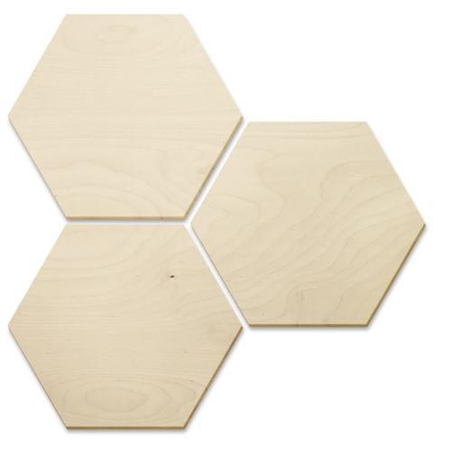 Wall-Art Holzbild 3er Set Holzdeko Hexagon, (Set, 3 St.) braun Holzbilder Bilder Bilderrahmen Wohnaccessoires
