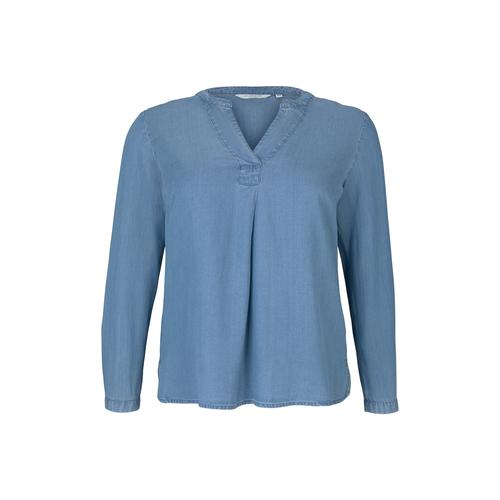 TOM TAILOR MY TRUE ME Damen Lyocell Jeansbluse, blau, Gr.52