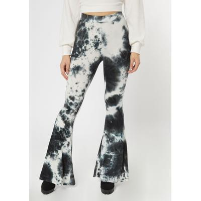 Rue21 Womens Black Tie Dye Ribbed Ruched Back Flare Leggings - Size L