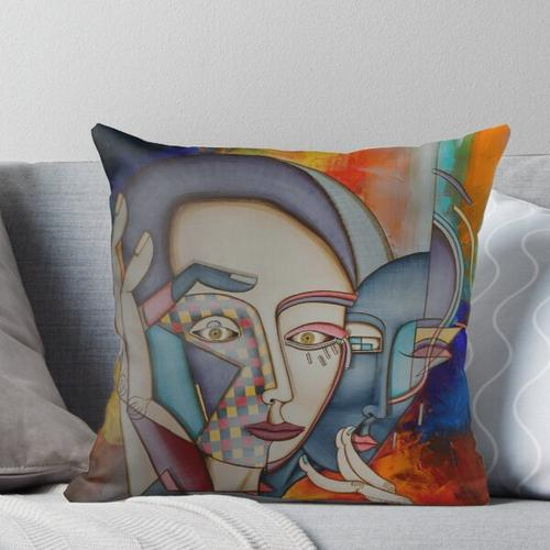 figurative abstract/cubist Throw Pillow