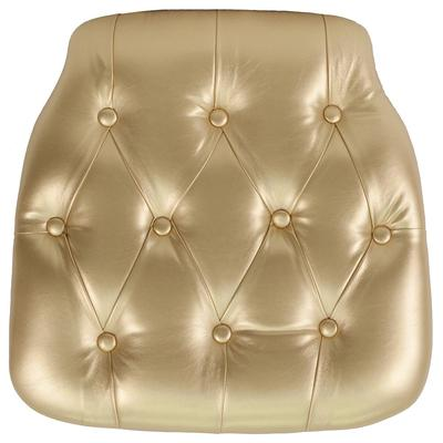 """Flash Furniture SZ-TUFT-GOLD-GG 15 3/4"""" Chair Cushion w/ Hook & Loop Adhesive Tape - 1 1/2"""" Thick, Vinyl, Gold"""