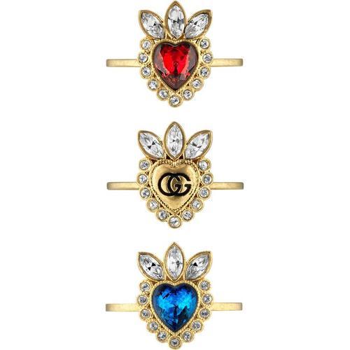 Gucci Ring mit Herz und Kristallsteinen