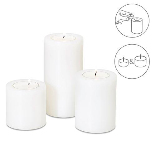 EDZARD Teelichthalter Cornelius, Ø 6 cm, Höhe 6, 8, 10 cm weiß Kerzenhalter Kerzen Laternen Wohnaccessoires
