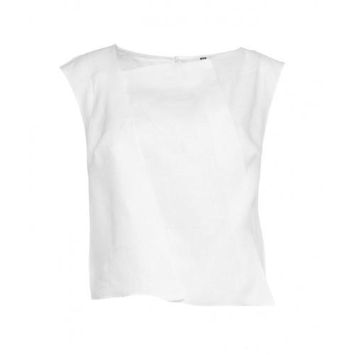 Manila Grace Damen Leinen-Top Weiß