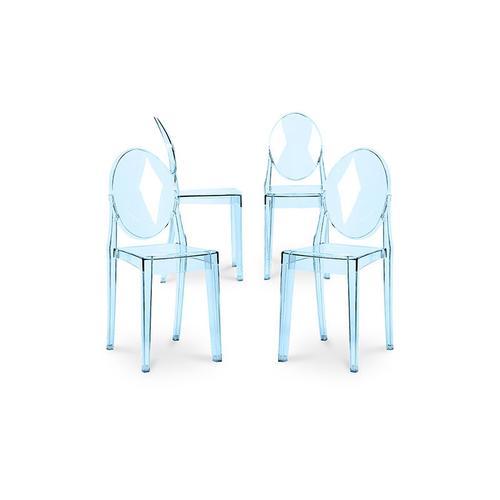 Victoria Stuhl - Pack von 4 Blau transparent