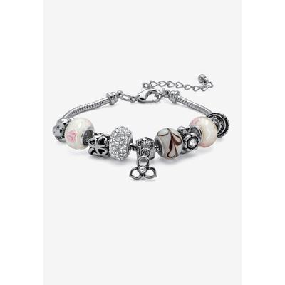 "Women's Bali Style Red Crystal Charm 8"" Bracelet in Silvertone by PalmBeach Jewelry in April"
