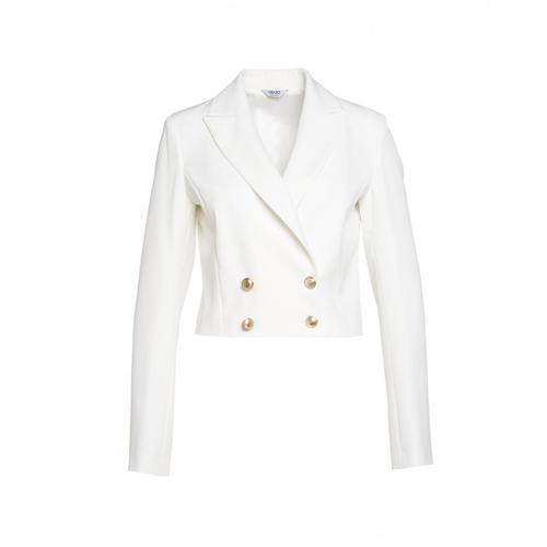 Liu Jo Damen Doppelreiher Blazer cropped Weiß