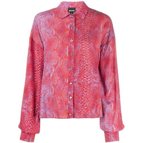 Just Cavalli Hemd mit Schlangenleder-Print