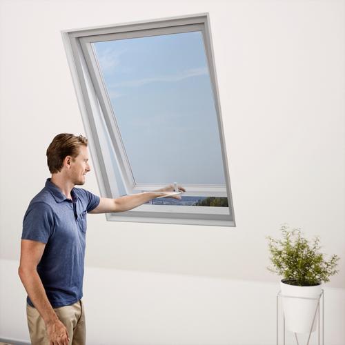 Windhager Moskitonetz für Dachfenster, Insektenschutzgitter, BxH: 130x150 cm grau Fliegengitter Insektenschutz Bauen Renovieren