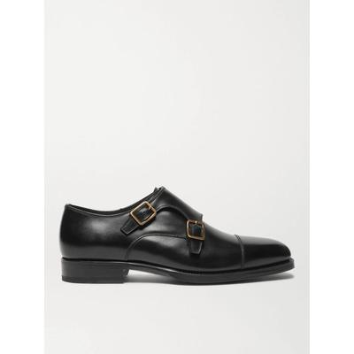 Wessex Cap-toe Leather Monk-strap Shoes - Black - Tom Ford Slip-Ons