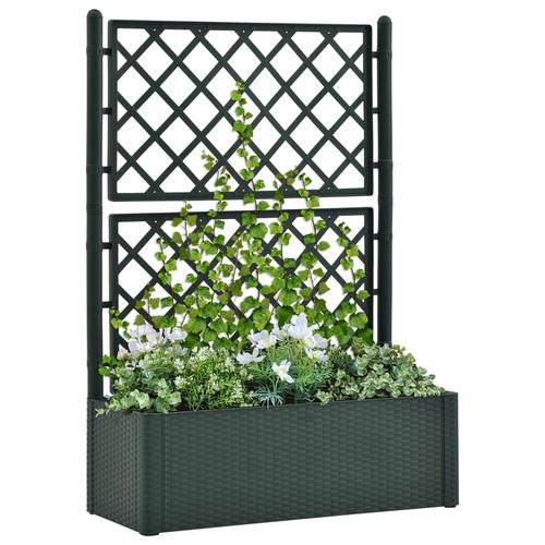 vidaXL Garten-Hochbeet mit Spalier und Selbstbewässerungssystem Grün