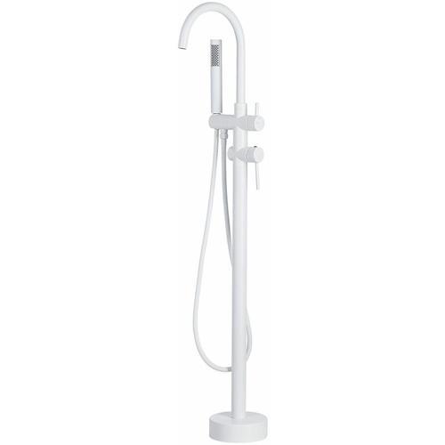 Duscharmatur Armatur Freistehend Mischer Wasserhahn Dusche Set Brause matt weiss Edelstahl Messing