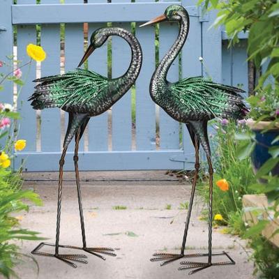 Crane Dance Outdoor Sculptures Green Set of Two, Set of Two, Green
