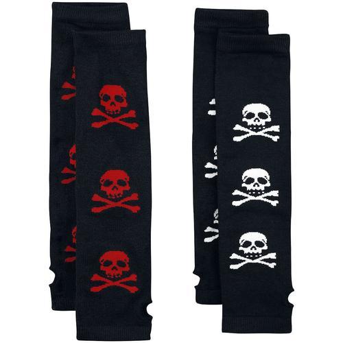 Rock Daddy 2er Pack Totenkopf Armstulpen Damen-Socken - schwarz rot weiß