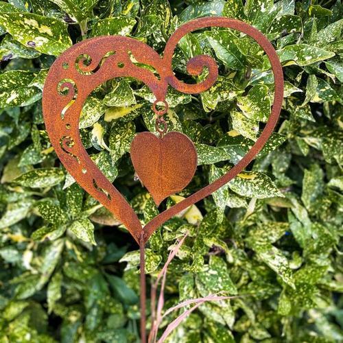 Gartenstecker Herz Sweetheart, Edelrost, 130 cm