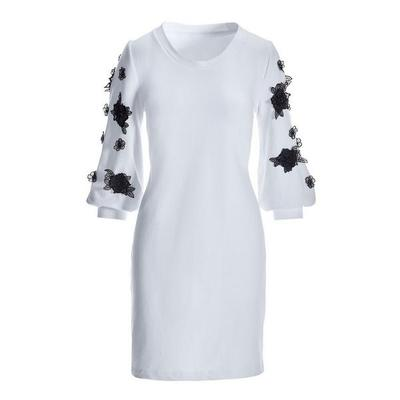 Boston Proper - Floral Sleeve Embroidered Dress - White/black - Xx Small