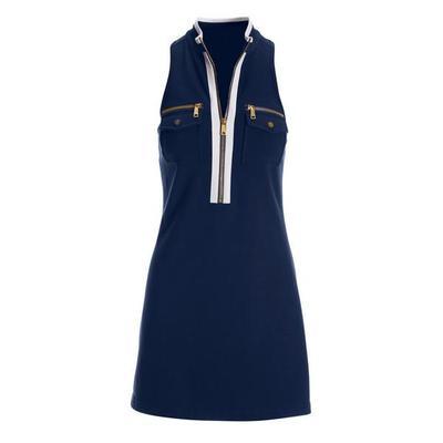 Boston Proper - Sleeveless Chic Zip Dress - Navy/white - Xx Small
