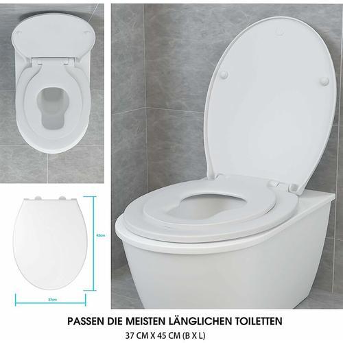 COSTWAY 2 in 1 Toilettensitz mit integriertem Kindersitz, Toilettendeckel fuer Erwachsene und