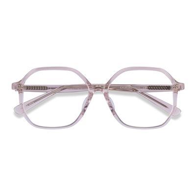 Unisex Geometric Clear Beige Acetate Prescription eyeglasses - EyeBuydirect's Crepuscule