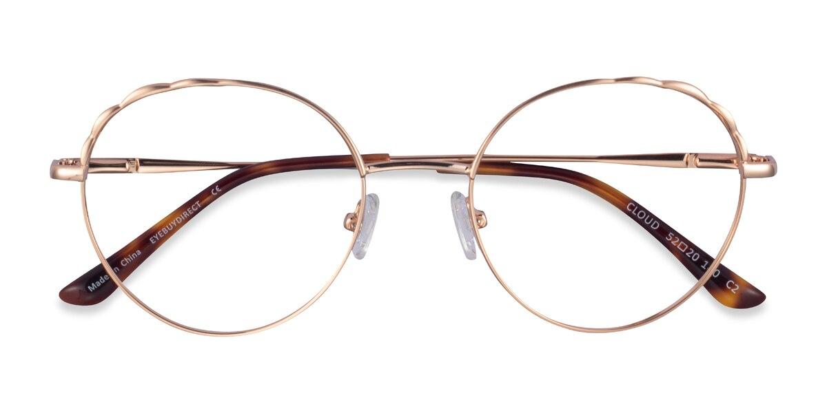 Female's Round Rose Gold Metal Prescription eyeglasses - EyeBuydirect's Cloud