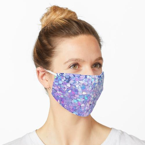 Lila Glitzer Herzen Maske