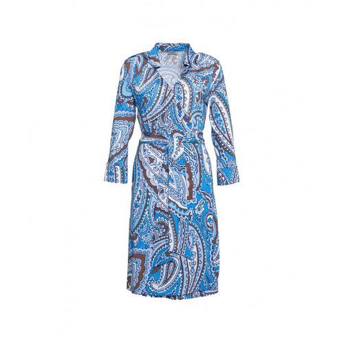 Himons Damen Wickel-Bluse Blau