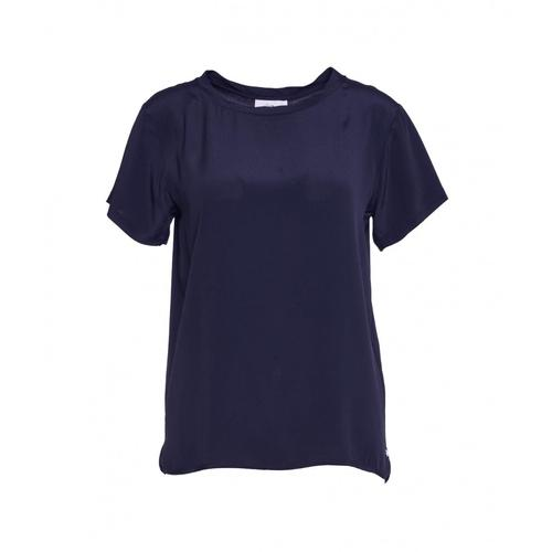 Ottod ame Damen T-Shirt aus Seide Blau