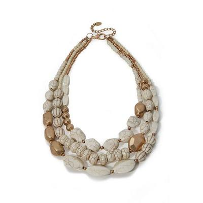 Boston Proper - Natural Stone Layered Necklace - White/gold - One Size