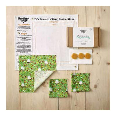 The Beeswax Wrap Co. - Beeswax Wrap DIY Kit - Meadow Pattern - blue | organic cotton - Blue/Blue