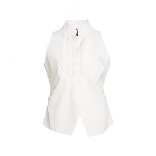 Manila Grace Damen Bluse mit Plisseé-Besatz Weiß