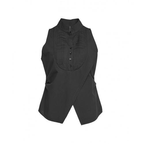 Manila Grace Damen Bluse mit Plisseé-Besatz Schwarz