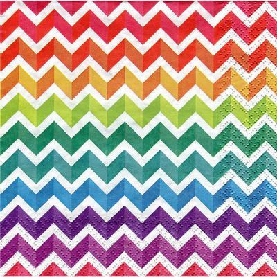 """Serviettes en papier """"zig-zag multicolore"""", 33 x 33 cm, 20 pièces"""