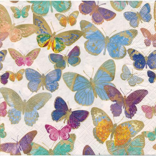Papierservietten Goldene Schmetterlinge, 33 x 33 cm, 20 Stück