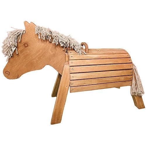 Holzpferd 50cm lasiert braun