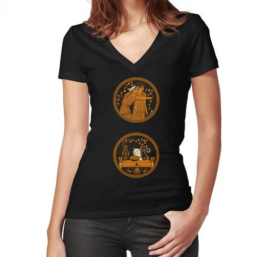 Ancient Greek Vase Cat Meme Women's Fitted V-Neck T-Shirt
