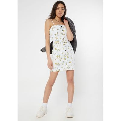 Rue21 Womens White Wildflower Snap Front Denim Mini Dress - Size M