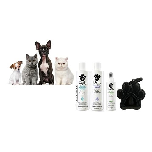 John Paul Pet: Teebaum-Shampoo + Teebaum-Pflegespray + Kotbeutel-Spender