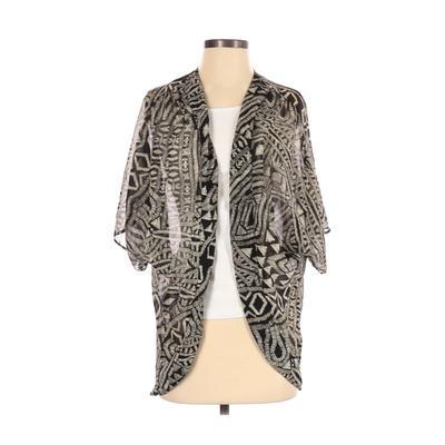 Necessary Clothing Kimono: Tan Print Tops - Size Small