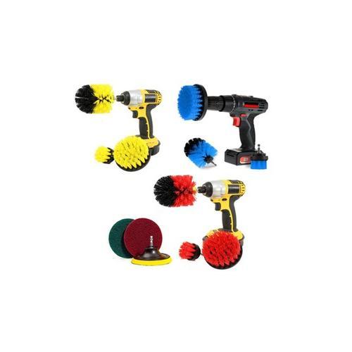 Bürstenaufsätze für die Bohrmaschine zur Reinigung: 3er-Set / Gelb