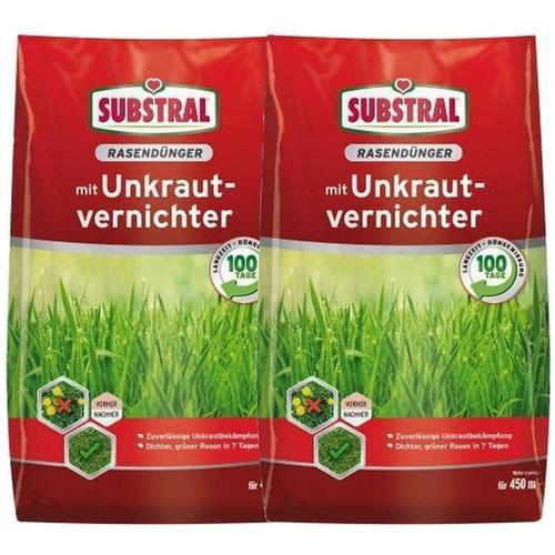 2x Substral Rasen-Dünger mit Unkrautvernichter 9 kg