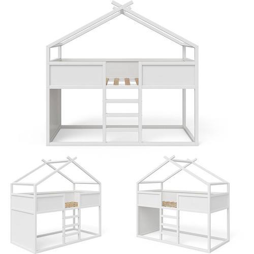 Hochbett Merlin - Spielbett Kinderbett Erle weiß Jugendbett Hausbett - Vitalispa