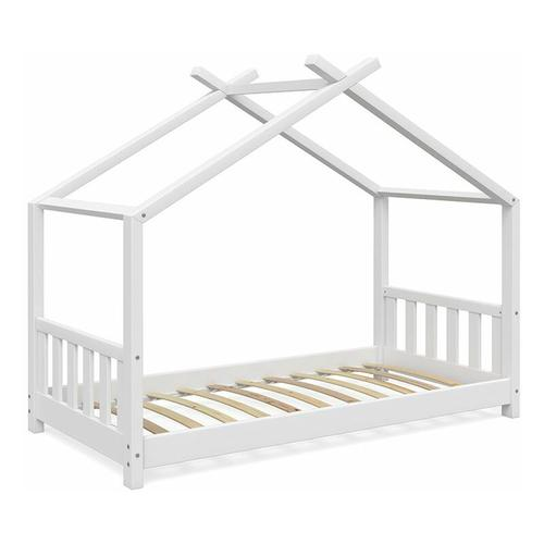VITALISPA Kinderbett Hausbett DESIGN 80x160 Weiß Zaun Kinder Holz Haus Hausbett