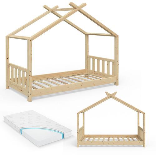 VITALISPA Kinderbett Hausbett DESIGN 80x160 Natur Zaun Kinder Holz Haus