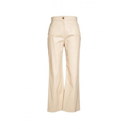 Pinko Damen Hose in Eco-Leder Baldo Beige