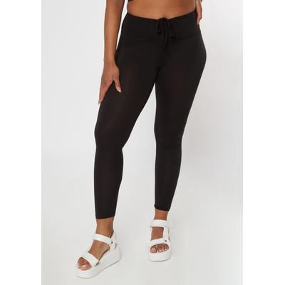 Rue21 Womens Black Ruched Drawstring Leggings - Size S
