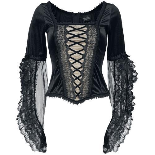Sinister Gothic Gothic Top Damen-Langarmshirt - schwarz beige