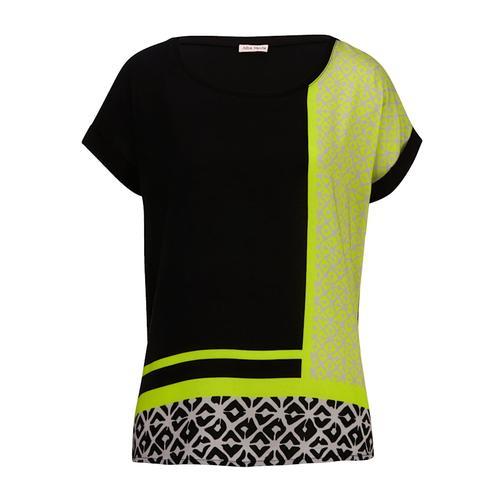 Shirt Alba Moda Schwarz::Limettengrün::Sand