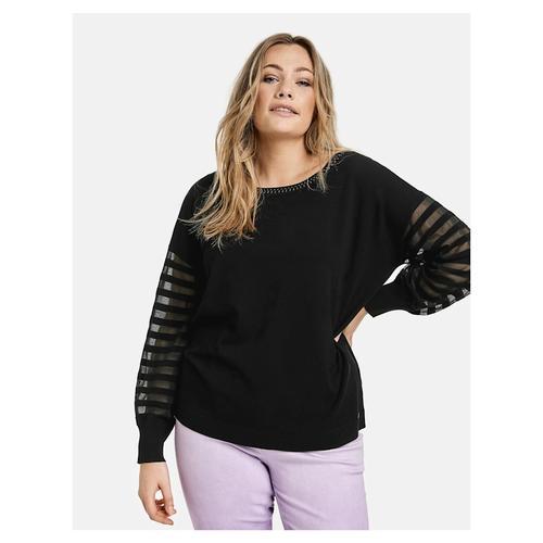 Pullover mit transparentem Streifen-Design Samoon Black