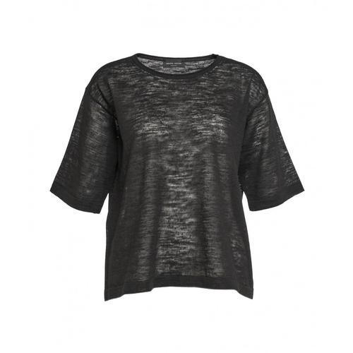 Roberto Collina Damen T-Shirt aus Leinen Schwarz