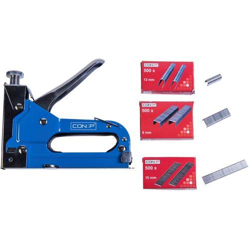 Connex Handtacker Profi-Tacker, Passend für Tackerklammern in den Größen 4 - 14 mm; U-Klammern: 10 Nägel: 8 mm blau Tacker Werkzeug Maschinen